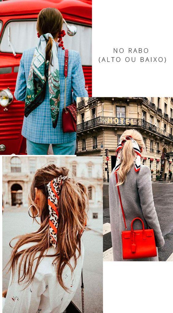 O rabo ganha uma releitura fashion com o lenço substituindo os clássicos elásticos. A dica aqui é fazer o penteado normalmente e finalizar com o acessório em volta.  it-girl - lenco-penteado-rabo-baixo - lenco - verão - street style
