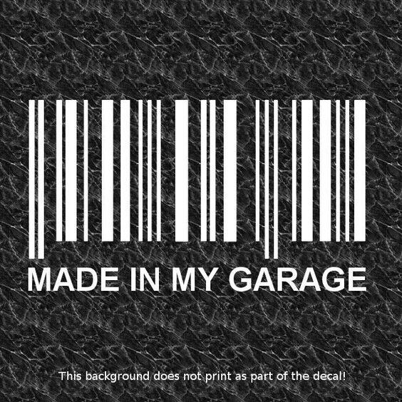 BARCODE MADE IN GARAGE DECAL CUSTOM 4X4 RACE CAR TRUCK OFFROAD BUGGY SAND RAIL