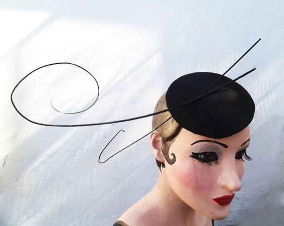 Women's Hat Feather Fascinator Cocktail Hat by BatcakesCouture, $145.00