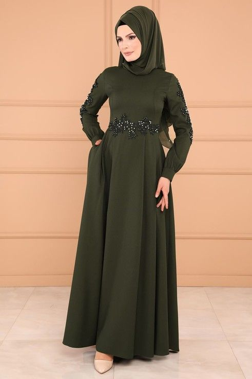 Modaselvim Elbise Gupuru Incili Pileli Elbise Msw8494 Haki Elbise Elbise Modelleri Dantel Elbise