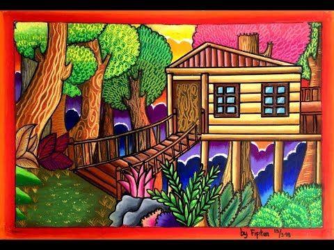 Cara Gradasi Warna Ep 102 Tema Gambar Rumah Di Tengah Hutan Youtube Gambar Flora Dan Fauna Seni Krayon Gambar Hutan