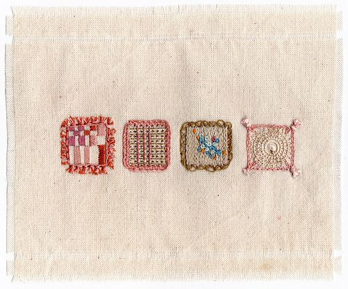 embroidered squares