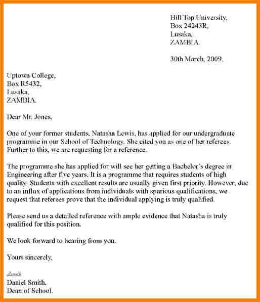 Referees Letter Sample