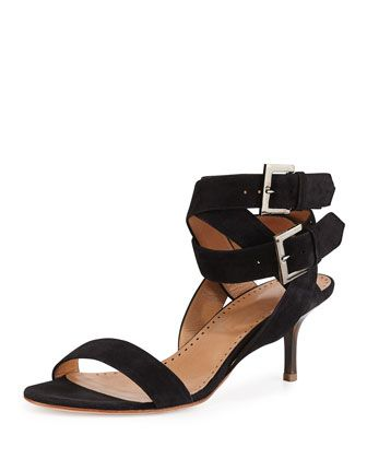 Nell Suede Ankle-Wrap Sandal, Black by Alexa Wagner at Neiman Marcus.