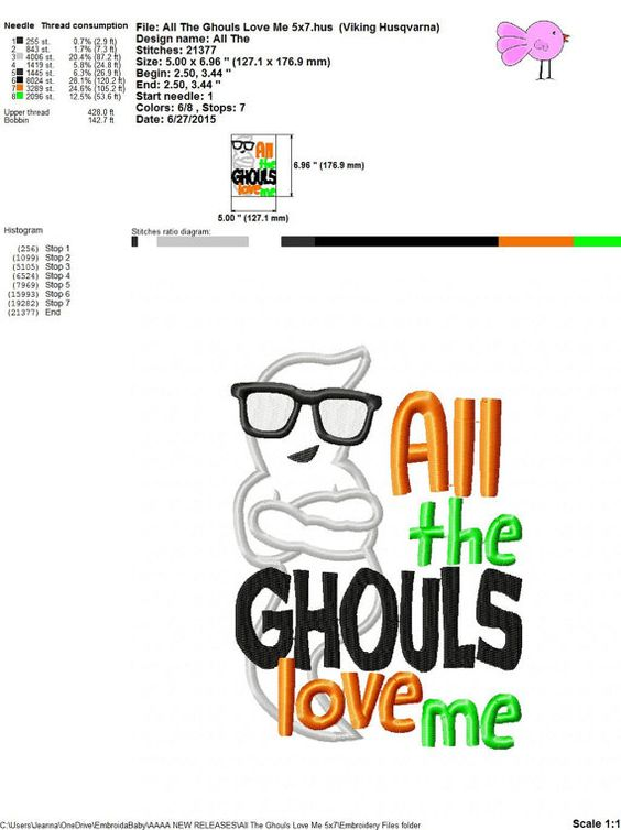 All The Ghouls Love Me 4x4 and 5x7 Machine by HoopMamaEmbroidery