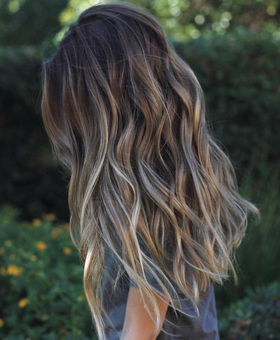 Long Brown Hair With Gray Highlights                              …