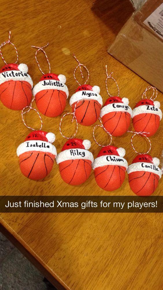 Basketball ornaments for my third grade girls basketball team!