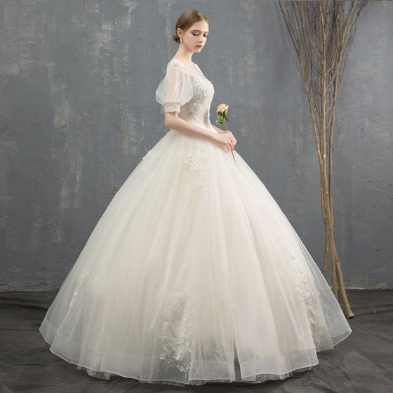 Elegant Ivory Wedding Dresses 2018 Ball Gown Beading Crystal Sequins Lace Flower Scoop Neck Short Sleeve Backless Floor-Length / Long Wedding
