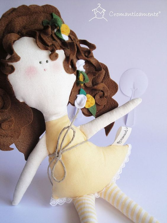 VERA - handmade soft cotton and felt kids doll - Handmade in Italy