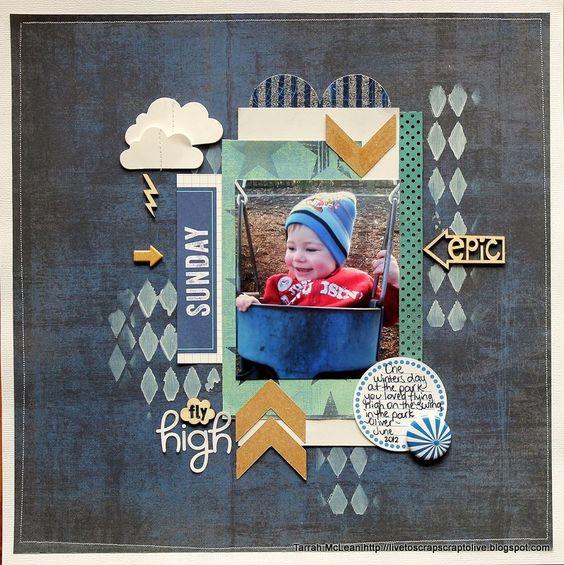 White With 1: WW1 JULY CHALLENGE...Tarrah McLean Love the stencil in the bg. Rainy day
