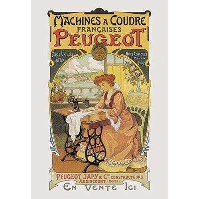 Buyenlarge Machines a Coudre Peugeot Vintage Advertisement Size: