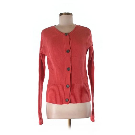 Pre-owned Ann Taylor LOFT Cardigan ($16) ❤ liked on Polyvore featuring tops, cardigans, coral, loft cardigan, red top, red cardigan, coral cardigan and coral top