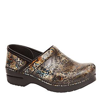 "Dansko Pro ""Brush Off Floral"" Patent Clogs"