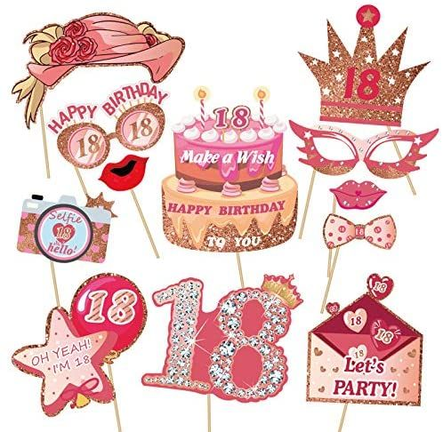 HOWAF 13th Birthday Party Photo Booth Props For Her Birthday Party Favors Supplies Funny Decorations 39 Piece Set of Rose Gold Selfie Party Supply and Decoration