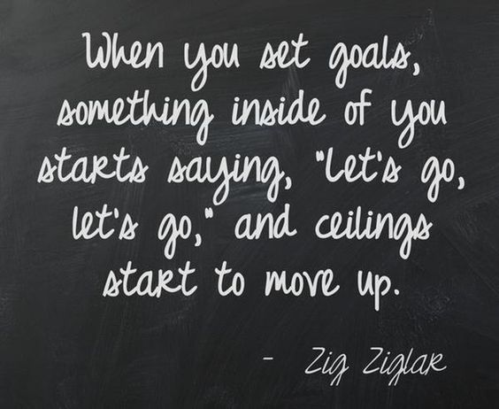 Setting goals gives you something to achieve.