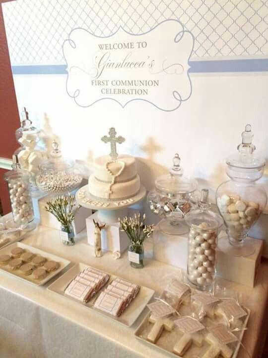 Mesa de postres primera comunion bautizo mesa de for Mesa de dulces para bautizo de nina