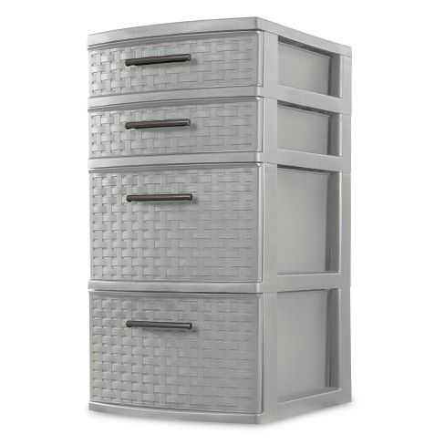 The Sterilite 4 Drawer Weave Tower Is The Ideal Decorative Solution For Visible Storage Nee Stackable Storage Bins Plastic Storage Bins Plastic Storage Drawers
