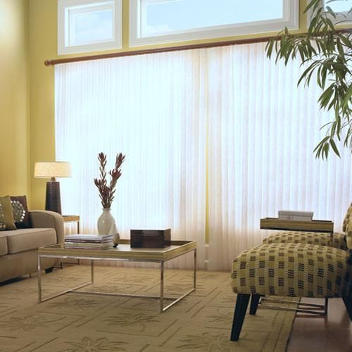 Sheer shades traditional vertical blinds and large for Simple window treatments for large windows
