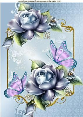 BLUE ROSES WITH PINK BUTTERFLY IN ORNATE FRAME A4 on Craftsuprint - Add To Basket!: