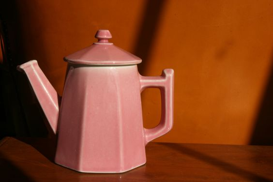 French vintage pink Art Deco teapot, tea party, French pottery, French country kitchen, French decor, French cafe coffee. $24.00, via Etsy.