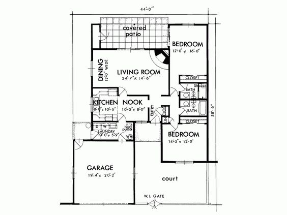 Adobe Southwestern Style House Plan 2 Beds 2 Baths 1300 Sq Ft Plan 320 1382 House Plans Floor Plan Design Duplex Design