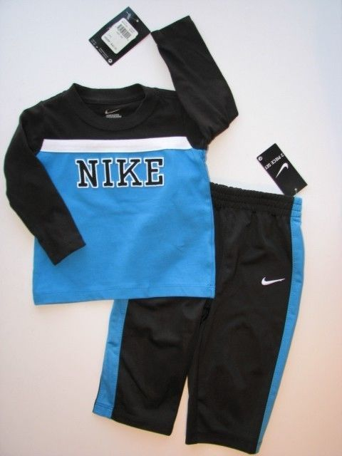 NEW NWT NIKE 2Pc Black & Blue LS Shirt & Track Pants Outfit Set Boys 12M $19.95 and FREE US SHIPPING! #Nike #BabyFashion #OnSale #FreeShipping #eBay