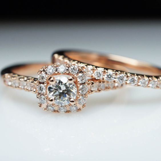 Square Halo Diamond Rose Gold Engagement Ring & Wedding Complete Bridal Set 14k Rose Gold by JamieKatesJewelry on Etsy https://www.etsy.com/listing/231140463/square-halo-diamond-rose-gold-engagement
