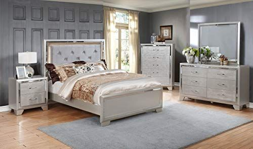 Gtu Furniture Contemporary Silver Style Wooden 5pc Queen Bedroom