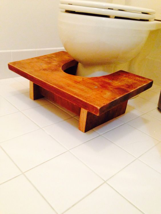 The Stool Tool is my version of a squatty potty I made from old barn wood. Strong enough to hold up a car.