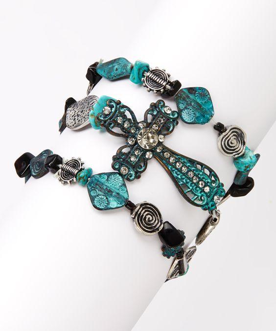 Turquoise & Antique Silver Cross Stretch Bracelet Set