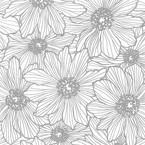 2773 406658 Silver Floral Wallpaper Black Floral Wallpaper Modern Floral Wallpaper Glitter Wallpaper