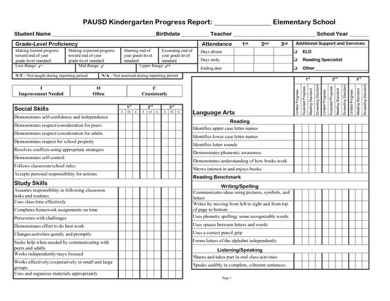 Printable Progress Report Template - Google Search | Education