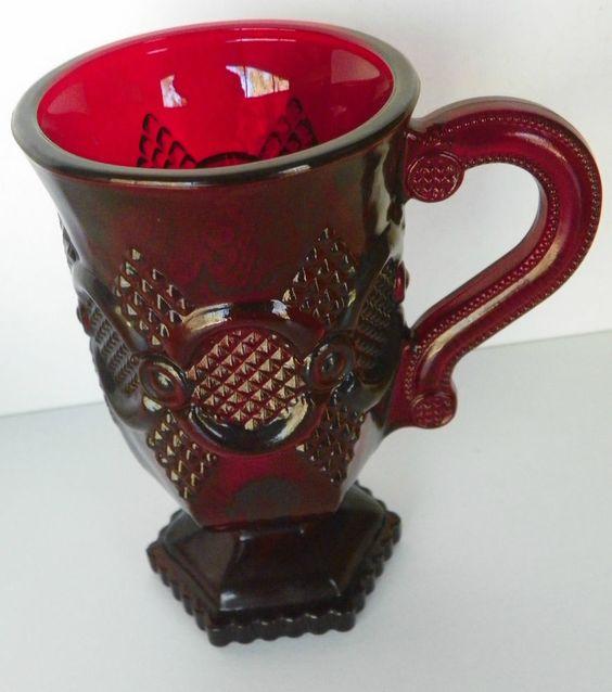 Vintage Avon 1876 Cape Cod Ruby Red Pedestal Coffee/Hot Cocoa Mug No Box