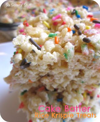 Cake Batter Rice Krispie Treats  3 Tbsp. butter   1 (10 oz.) bag of mini-marshmallows   1/3 cup Funfetti or yellow cake mix    6 cups crispy rice cereal  1 (1.75 oz.) container of sprinkles   Melt butter in a large saucepan over low heat, add marshmallows. Stir until they melt, add (dry) cake mix one spoonful at a time til combined. Stir in cereal til completely coated with marshmallow mixture. Sprinkle in half of the sprinkles and mix. Press into a baking dish, top with remaining sprinkles.