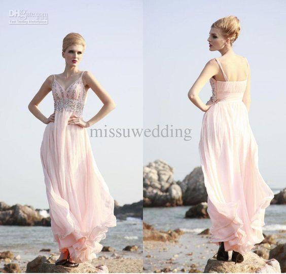 Wholesale Custom made Spaghhti Empire full length Chiffon Elegant Sexy Prom gowns 2013 New Women Evening dress, Free shipping, $130.8-155.25/Piece   DHgate