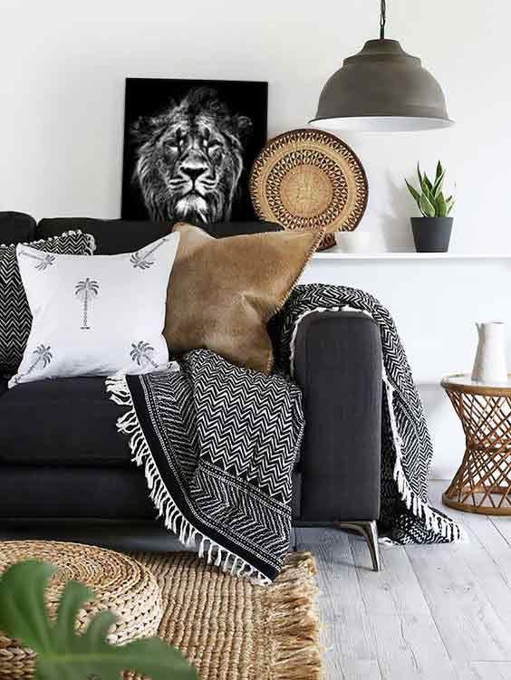 cadre-deco-ethnique-lion-noir-et-blanc