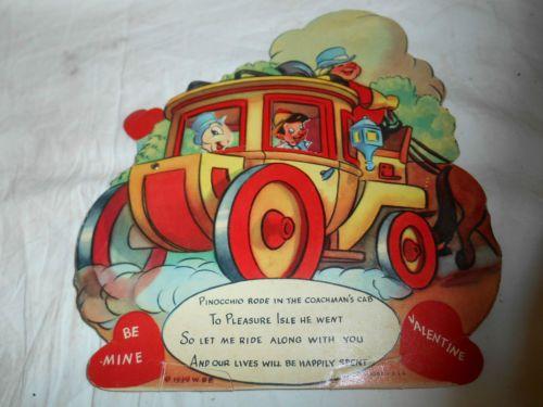 Vintage Antique 1939 Pinocchio Jiminy Cricket Mechanical Valentine