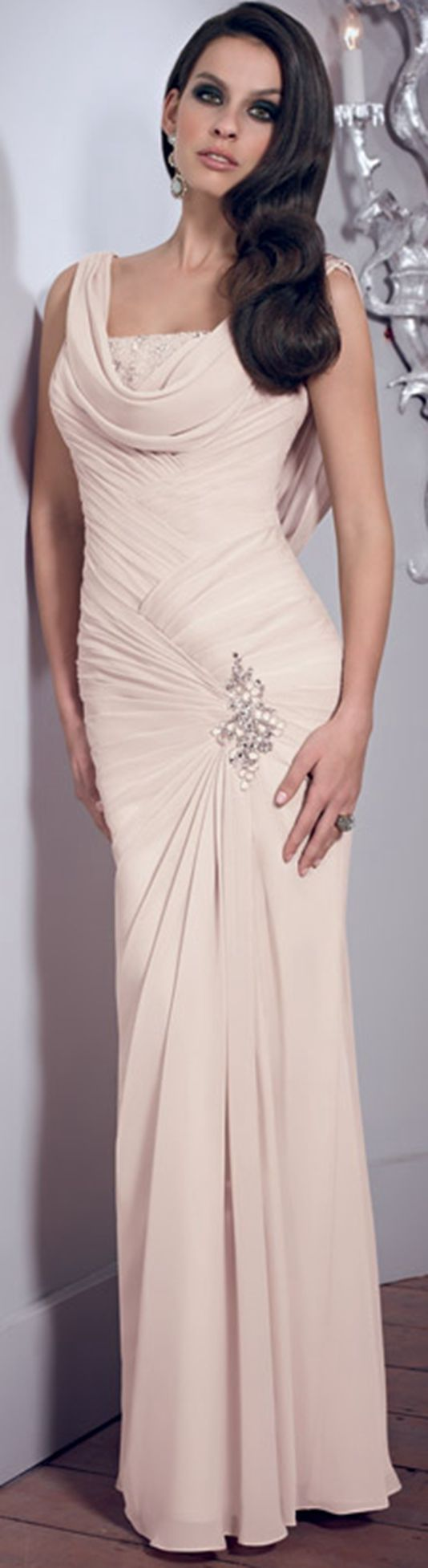 Elegant Sheath/Column Straps Beading Buttons Ruching Floor-length Chiffon Mother of the Bride Dresses