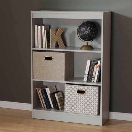 South Shore Smart Basics 3-Shelf Bookcase, Multiple Finishes, Gray