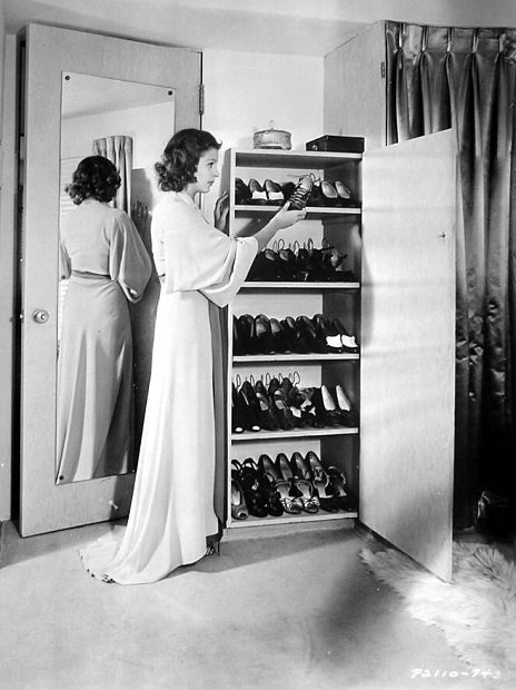 martha raye shows her 25 pair shoe cabinet 1938 old