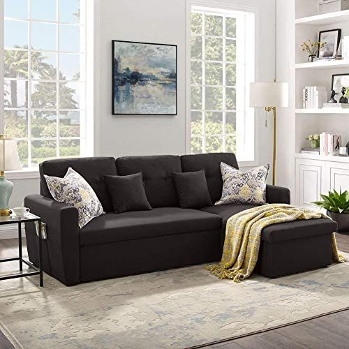 Buy 3 Seater Sofa Bed Storage Tribesigns 86 6 Convertible Sectional Sofa Couch Modern Linen Fabric L Shape Couch Small Space Coffee Brown Online In 2020 Sectional Sofa Couch Modern Convertible Sofa Furniture