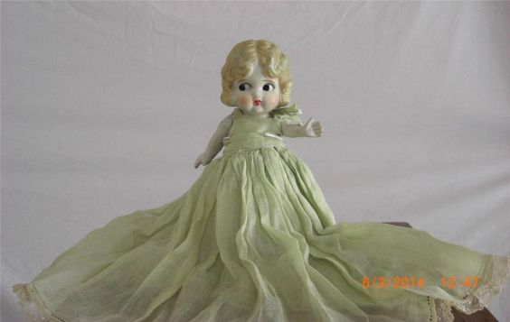 Vintage All Bisque Doll  Moveable Arms Frozen Legs