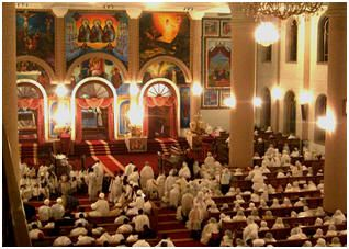 RELIGION: The main religion in Ethiopia is Ethiopian Orthodox. Ethiopian Orthodox speak Ge'ez. Most of their clothes are made from woven cotton. A main dish in Ethiopia is called Wat a hot spicy stew. The main drink is coffee.