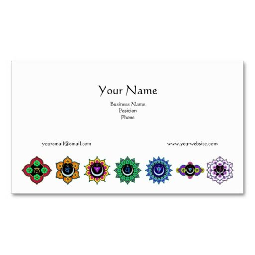 7 Chakras Business Cards. This great business card design is available for customization. All text style, colors, sizes can be modified to fit your needs. Just click the image to learn more!