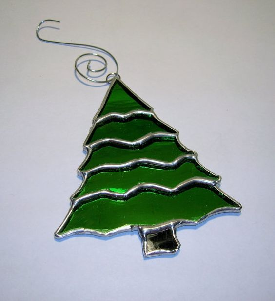 Stained Glass Christmas Tree Ornament by IBGCreativeDesign on Etsy
