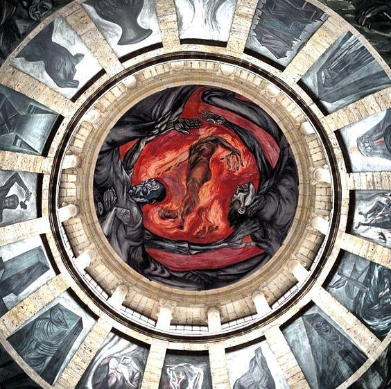 Guadalajara jalisco mexico mural called hombre en for El hombre de fuego mural de jose clemente orozco