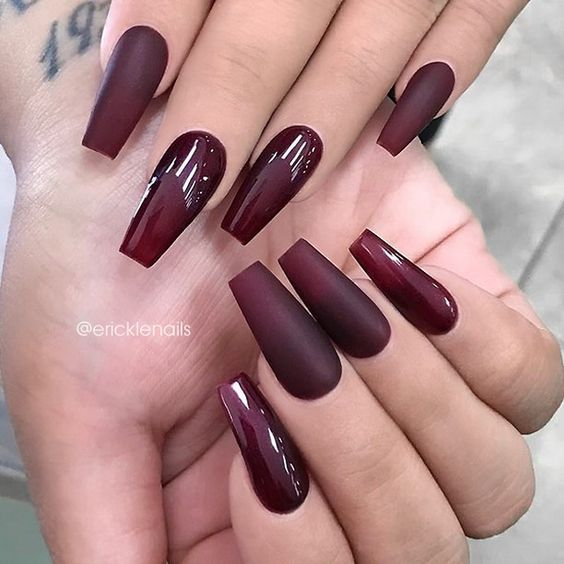 Matte Wine Red Squoval Acrylic Nails W Lace Rhinestones Maroon Nails Beautiful Nails Burgundy Nails