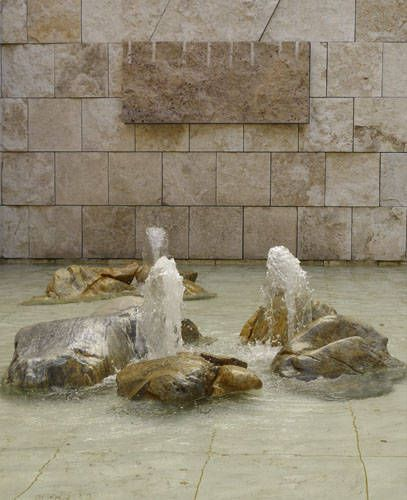 Fountain at Getty Museum and close up of Travertine marble used at the center
