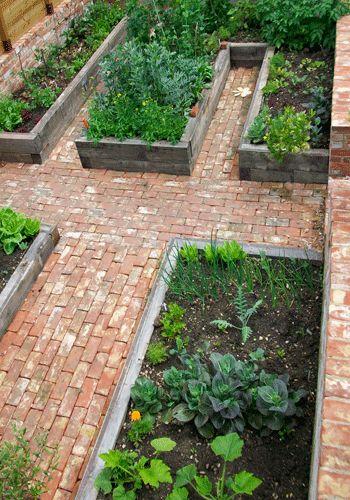 Bricks raised beds and brick walkway on pinterest for Vegetable plot ideas