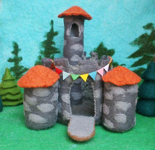 needle felted fairytale castle